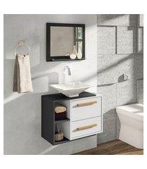 conjunto para banheiro barcelona móveis bechara 1 porta 1 gaveta preto/branco