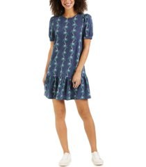 charter club linear-print ruffle-hem dress, created for macy's