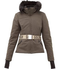 hida faux fur hooded technical ski jacket