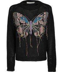etro black silk-linen blend sweatshirt