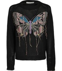 etro black silk-linen blend sweatshirt