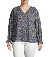 plus printed long-sleeve top
