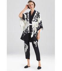 kumiko wrap / robe, women's, white, 100% silk, size s, josie natori