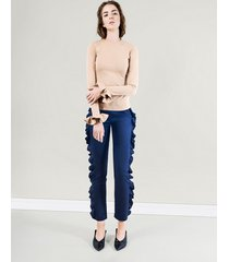 spodnie z falbaną przy nogawce