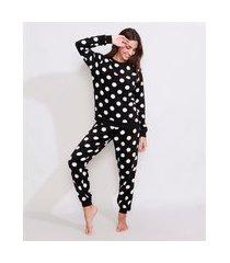 pijama de fleece feminino manga longa estampado de poá preto