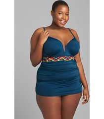 lane bryant women's fitted underwire swim tankini top 36dd poseidon blue