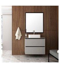 gabinete para banheiro bosi urban cuba e espelheira argento/preto