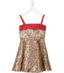 little bambah metallic embossed princess dress - gold
