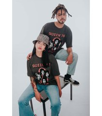 camiseta gris jaspe rockgota unisex oversize queen 78' s classic