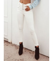 bolsillos laterales blancos botón frontal jeans de cintura alta