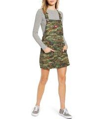 women's dickies camouflage denim overall dress, size medium - green