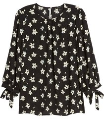 women's halogen floral print tie detail blouse, size small - black