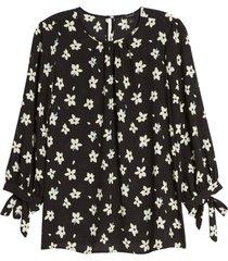 women's halogen floral print tie detail blouse