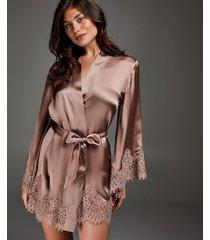 hunkemöller scallop lace kimono i silke rosa