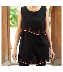 cotton blouse, 'layers in black' (thailand)