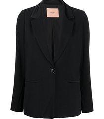 twin-set blazer de cetim - preto