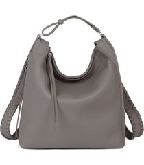 allsaints small kita convertible leather backpack - grey