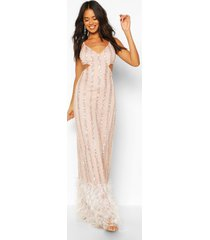 occasion hand embellished tassle hem maxi dress, nude