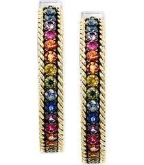 effy multi-sapphire hoop earrings (2-1/10 ct. t.w.) in sterling silver & 18k gold