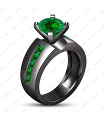 14k black gp brilliant green sapphire engagement solitaire with accents ring