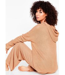 womens knit's time hoodie and wide-leg pants set - camel