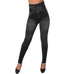 leggings de mezclilla elásticos con estampado negro