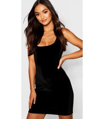 petite velvet square neck bodycon dress, black