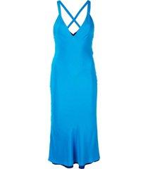 deep v-neck dress blue