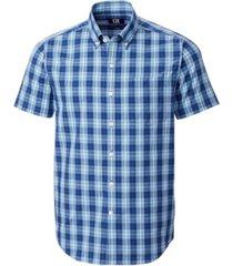 cutter & buck men's big & tall strive shadow plaid short sleeve shirt