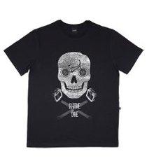 camiseta alkary caveira bmx preta