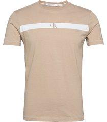 horizontal ck panel tee t-shirts short-sleeved beige calvin klein jeans