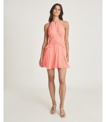 reiss belle - chiffon ruffle mini dress in pink, womens, size 14