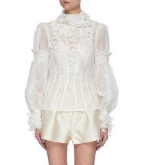 wattle appliqué bubble sleeve sheer blouse