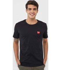 camiseta wrangler logo preta - kanui