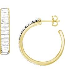 crystal baguette hoop earring, gold plate