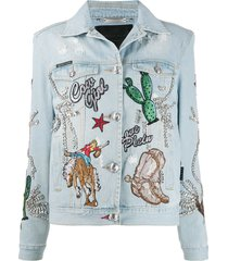 philipp plein cowboy denim jacket - blue