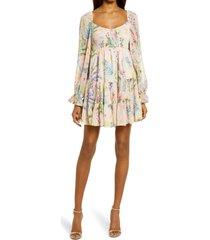 women's btfl-life floral metallic dot long sleeve babydoll dress, size medium - pink