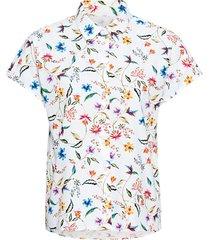 blouse met korte mouw van bio-katoen met bloemenprint, wit-motief 46