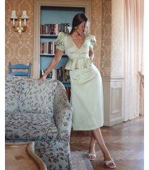 danielle bernstein puff-sleeve dot-print midi dress, created for macy's