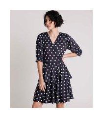 vestido feminino mindset curto transpassado em camadas estampado de poá manga bufante preto