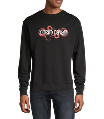 roberto cavalli men's snake logo graphic sweatshirt - black - size xxl
