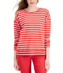 style & co striped classic crew sweatshirt, created for macy's