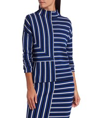 akris punto women's square stripe mockneck pullover sweater - lake desert - size 12