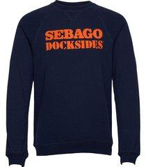 docksides logo crew sweat-shirt tröja blå sebago