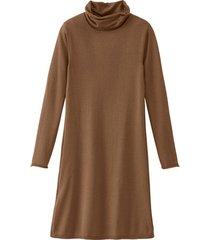 gebreide jurk uit bio-merino/katoenmix met wijde col, noten 50