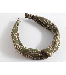 kenzie chiffon leaf print headband - olive