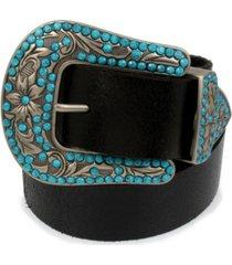 frye & co embellished western buckle crackle leather belt