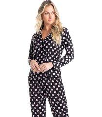 pijama abotoado longo em poá sara