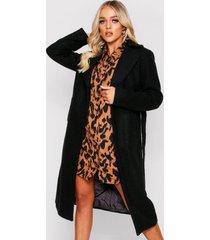 belted wool look long coat, black
