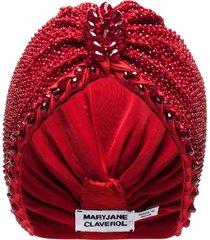 maryjane claverol alma bead embellished turban - red